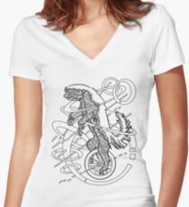 Honey Badger on a Unicycle Don't Care Women's Fitted V-Neck T-Shirt