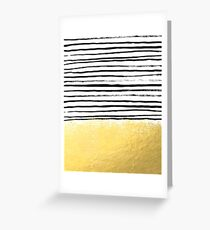 Blaire - Brushed Gold Stripes - black and gold, gold trend, gold phone case, gold cell case Greeting Card