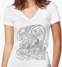 Rowing Fish Line art Women's Fitted V-Neck T-Shirt