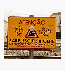 Train Crossing Sign, From Lisbon Photographic Print