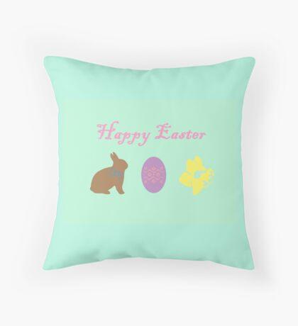 Bunny, Egg and Daffodil: Easter Line Throw Pillow