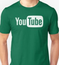 YouTube Full Logo - Full White on Black Unisex T-Shirt