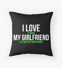 I love my girlfriend Funny Gamer T-shirt Floor Pillow
