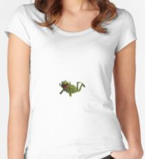 Kermit Laying Down Meme Women's Fitted Scoop T-Shirt