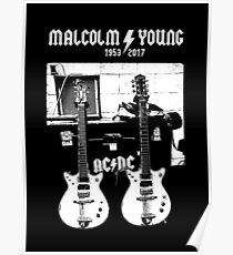 Malcolm Young - AC DC - Gretsch Guitar - Rock Music - Pop Culture Poster