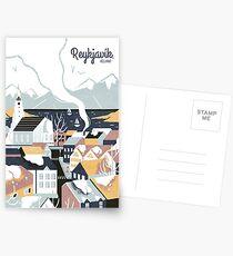 Reykjavik, Island, Reiseplakat Postkarten