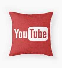 YouTube Full Logo - Full White on Pattern Red Throw Pillow