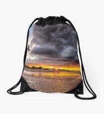 Black Gold Sunset Drawstring Bag