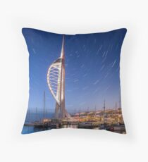 Spinnaker Tower With Star Trails Throw Pillow