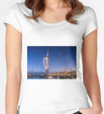 Spinnaker Tower With Star Trails Women's Fitted Scoop T-Shirt