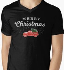 Vintage Retro Red Truck With Christmas Tree in Back T-shirt - For Men or Women T-Shirt