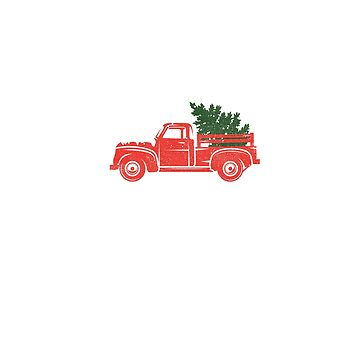 Vintage Retro Red Truck With Christmas Tree in Back T-shirt - For Men or Women by KnockoutTees
