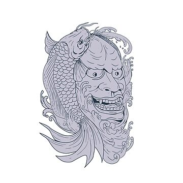 Hannya Mask and Koi Fish Drawing by patrimonio