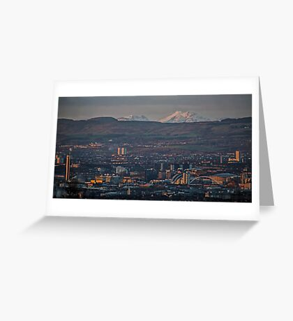 Snowy mountains over Glasgow. Greeting Card