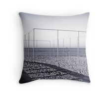 Structure on a beach Throw Pillow