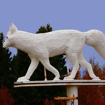 White Fox Statue by MaeBelle