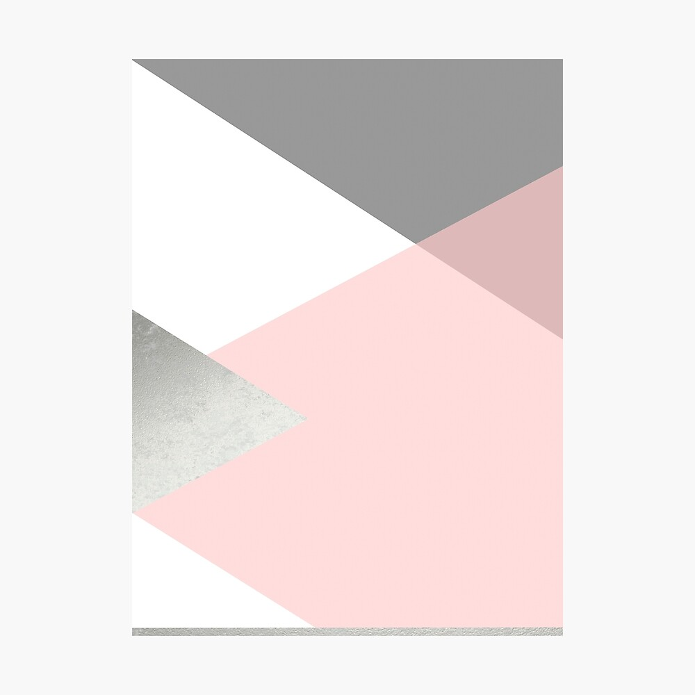 Geometrics - graues Rouge-Silber Fotodruck
