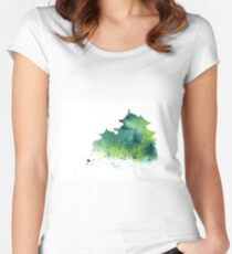 Japanese castle silhouette watercolor poster Women's Fitted Scoop T-Shirt