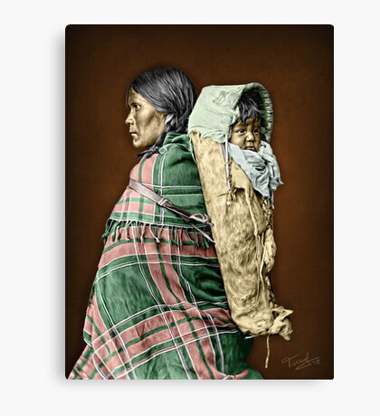 Ute woman and child Canvas Print
