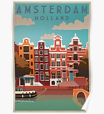 Amsterdam, Holland, Travel Poster Poster