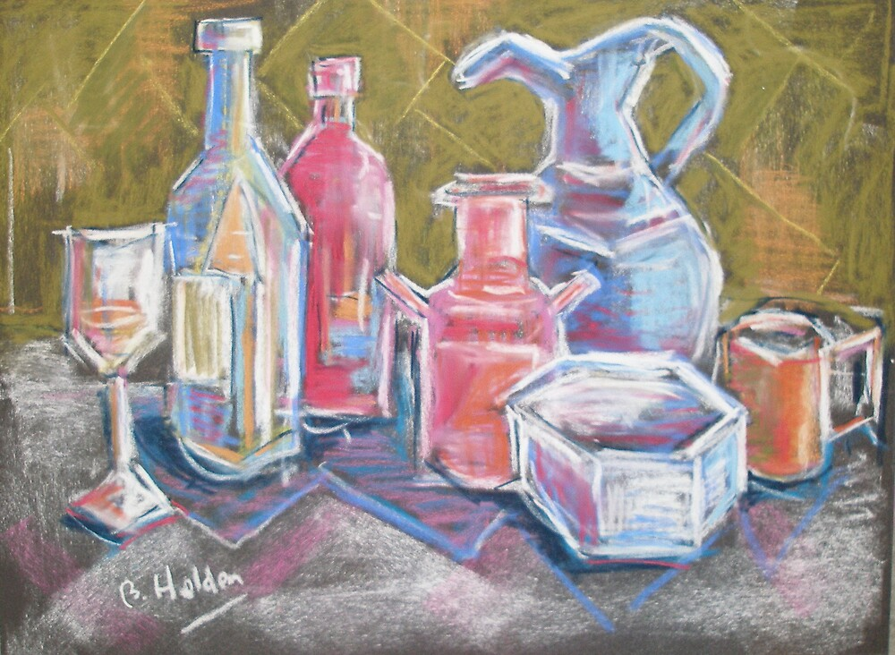 Still life with bottles by BRIAN HOLDEN