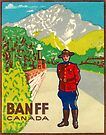 Banff Mountie National Park Vintage Travel Decal by hilda74