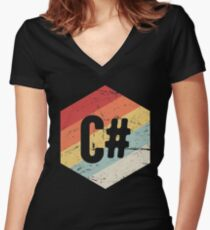 Retro C# Programming Language Icon Women's Fitted V-Neck T-Shirt