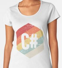 Retro C# Programming Language Icon Women's Premium T-Shirt