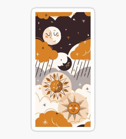 Mid Century Sun & Moon Sticker