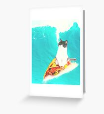 Kitty Cat Surfing Taco Greeting Card