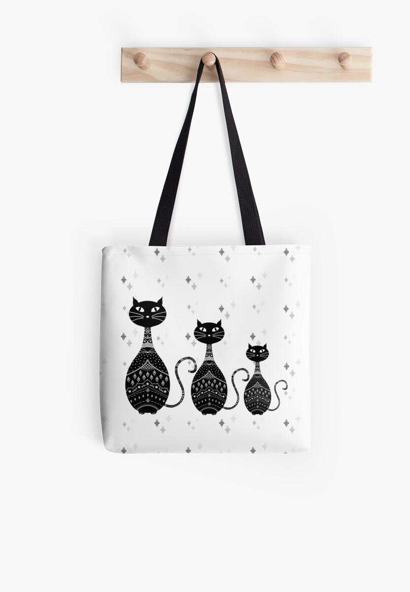 Black and White Cat Illustration  by Cristina Bianco Design