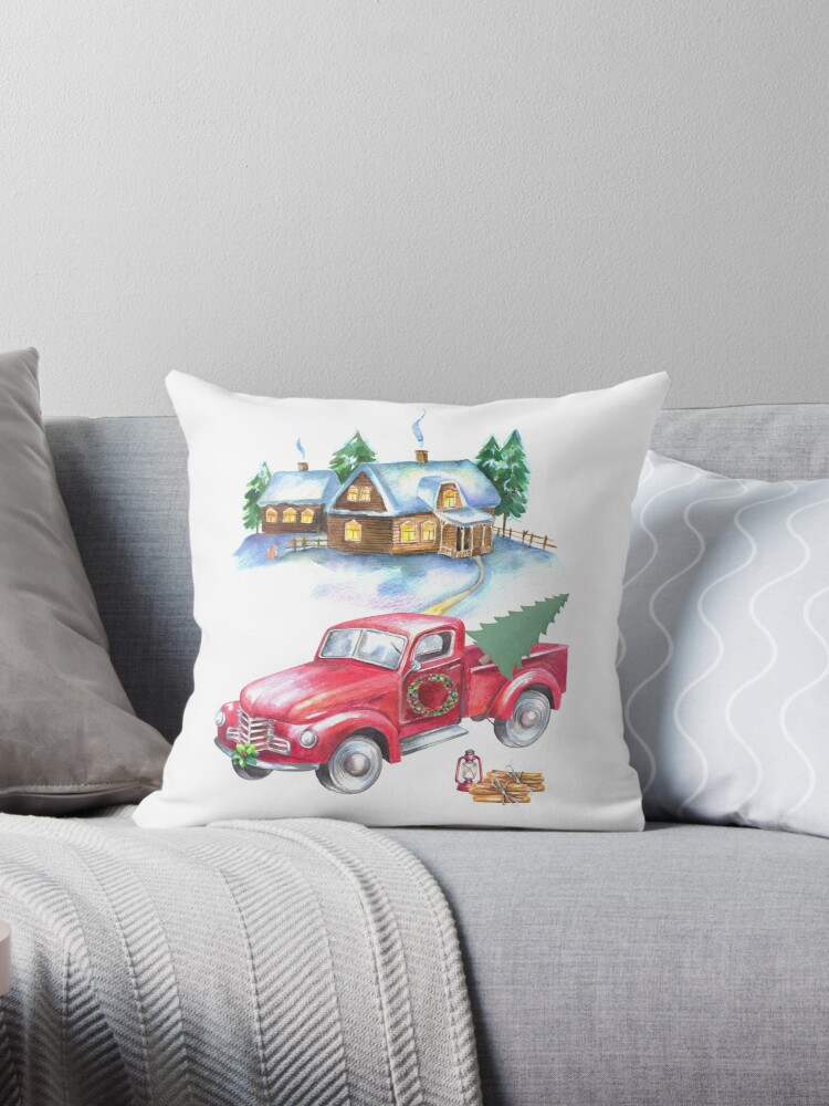 Vintage Red Truck and Winterland Scene by Kimberly Dickerson