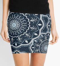 Black White Blue Mandala Mini Skirt