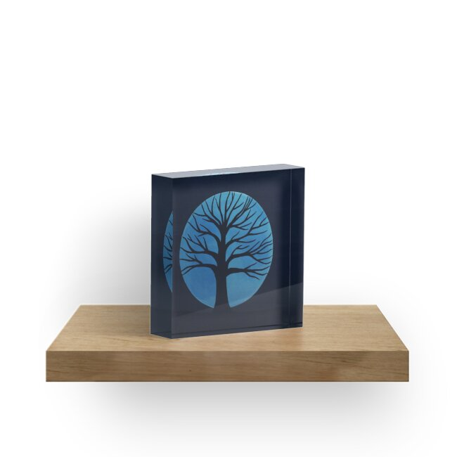 'Spooky Tree  (Blue)' Acrylic Block