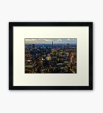 London, St Paul Cathedral and skyline at night Framed Print