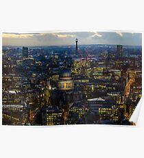 London, St Paul Cathedral and skyline at night Poster