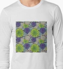 Succulents on Black and White Stripes Long Sleeve T-Shirt