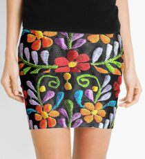 Mexican Flowers Embroidery Mini Skirt