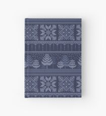 Knitted blue christmas pattern Hardcover Journal