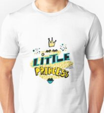 Little princess. Hand drawn lettering with cartoon crown, eyelashes, lipstick kiss on golden glitter paint background.  T-Shirt