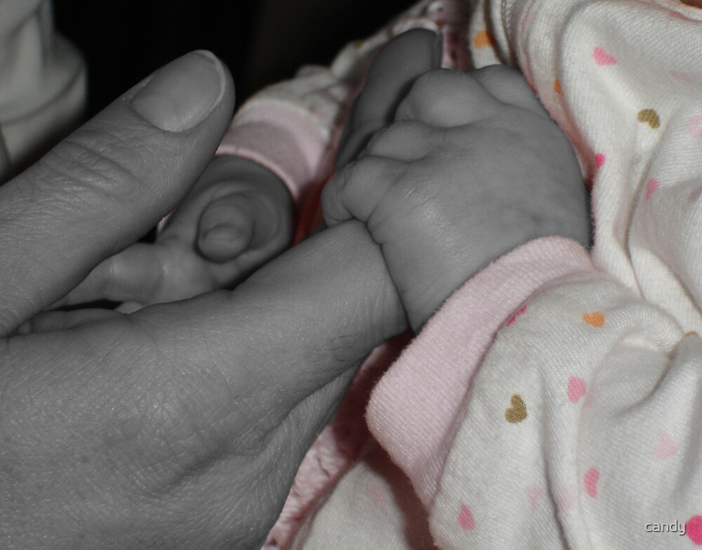 Mom and babys finger black and white and color by candy