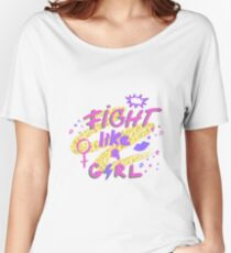 Fight like a girl. Hand drawn lettering with lipstick kiss, female gender sign mirror of Venus and stars on golden glitter paint background. Women's Relaxed Fit T-Shirt