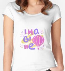 Imagine. Hand drawn lettering with air balloon, stars on golden glitter paint background. Women's Fitted Scoop T-Shirt