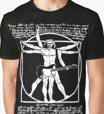VITRUVIAN MAN PLAYING THE GUITAR - DA VINCI GUITARIST - LEONARDO DA VINCI PARODY Graphic T-Shirt