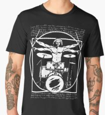DA VINCI DRUMMER - VITRUVIAN MAN PLAYING THE DRUMS - LEONARDO DA VINCI VITRUVIAN MAN PARODY FOR DRUMMERS Men's Premium T-Shirt