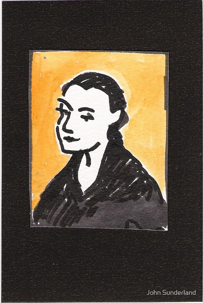 portrait of woman in cafe by John Sunderland