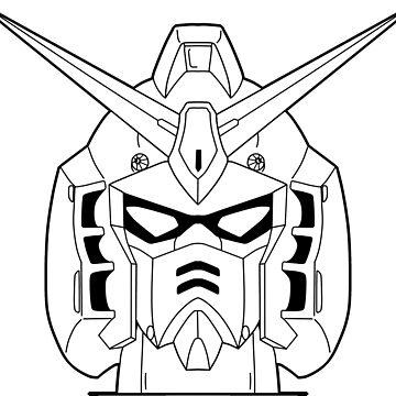 RX-178 Gundam Mk-II Head Outline Black by MossLoves