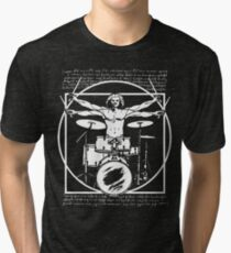 DA VINCI DRUMMER - VITRUVIAN MAN PLAYING THE DRUMS - LEONARDO DA VINCI VITRUVIAN MAN PARODY FOR DRUMMERS Tri-blend T-Shirt