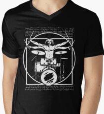 Camiseta para hombre de cuello en v DA VINCI DRUMMER - VITRUVIAN MAN JUGANDO LOS TAMBORES - LEONARDO DA VINCI VITRUVIAN MAN PARODY PARA BATERÍAS