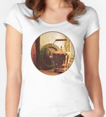 Copper Tea Kettle On Windowsill Women's Fitted Scoop T-Shirt